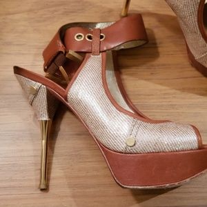 Brown and Gold Guess buckled heels